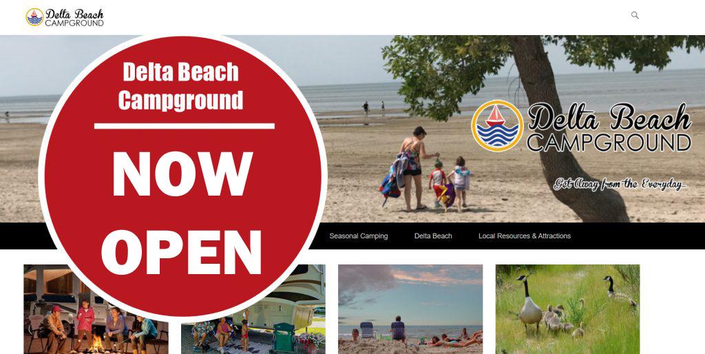 delta beach campground now open sign
