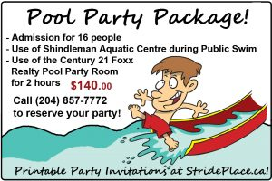 Pool Party ad $140.00 for 16 people public swimming with 2 hours in the pool party room