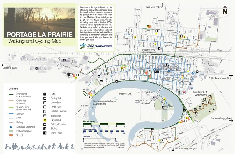 portage la prairie walking and cycling map